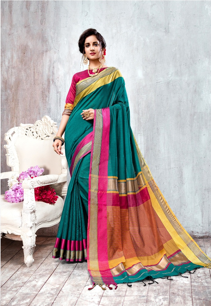 HEAVY MULTI COLOUR COTTON SILK SAREE