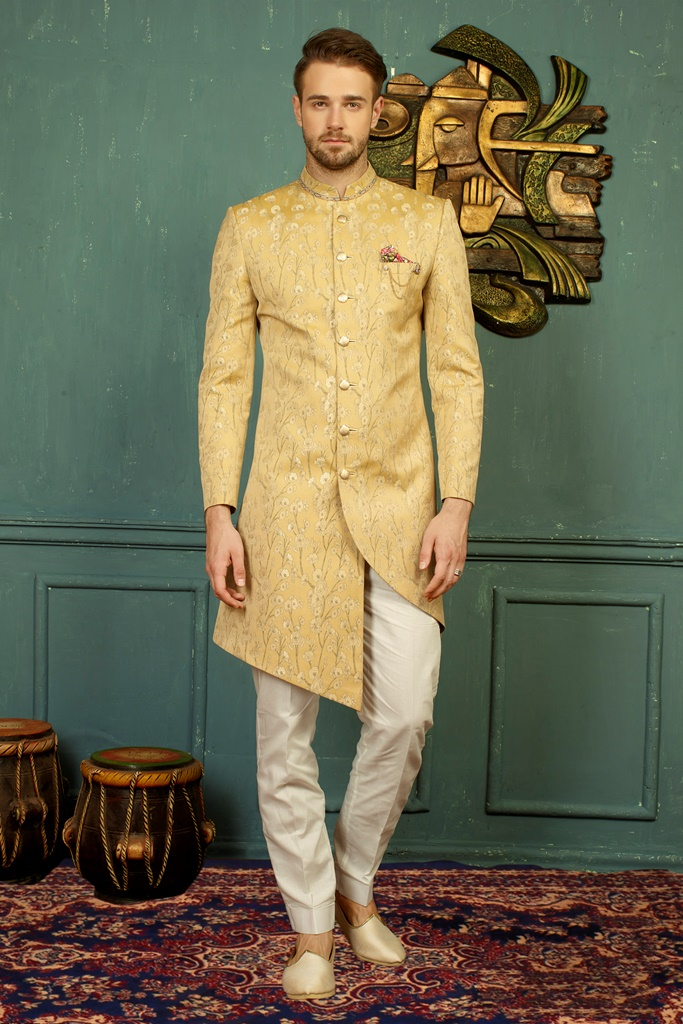 Men nawabi Cotton Indo Western Gold