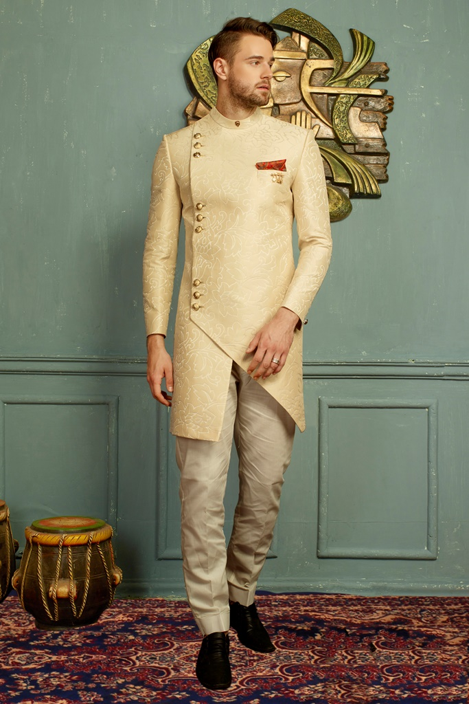 Men nawabi Cotton Indo Western Cream
