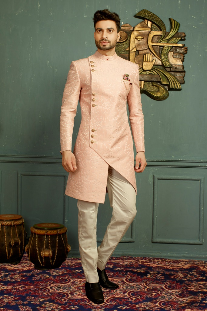 Men nawabi Cotton Indo Western Pink