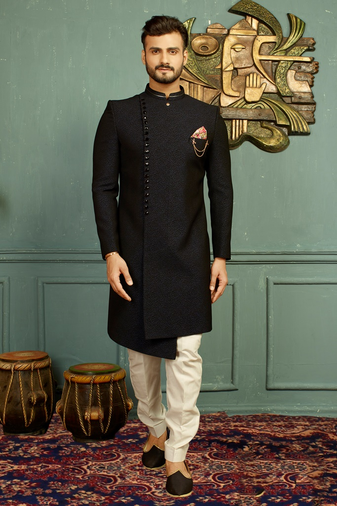 Men nawabi Cotton Indo Western Blue & Black