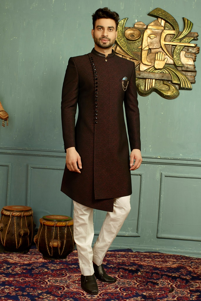 Men nawabi Cotton Indo Western Wine & Black