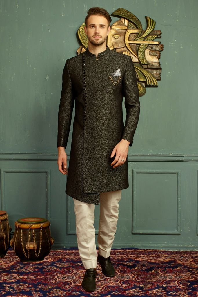 Men nawabi Cotton Indo Western Grey & Black