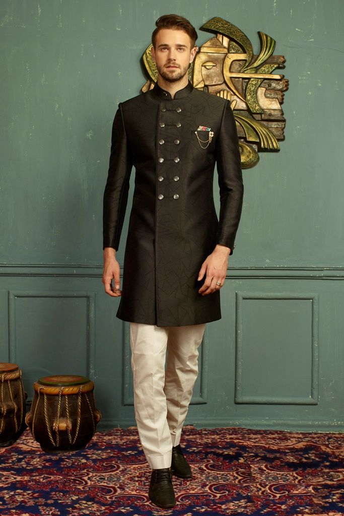 Men nawabi Cotton Indo Western Black