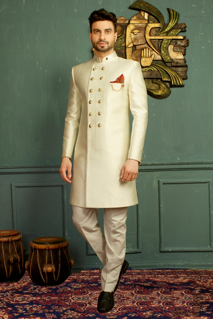 Men nawabi Cotton Indo Western Off White