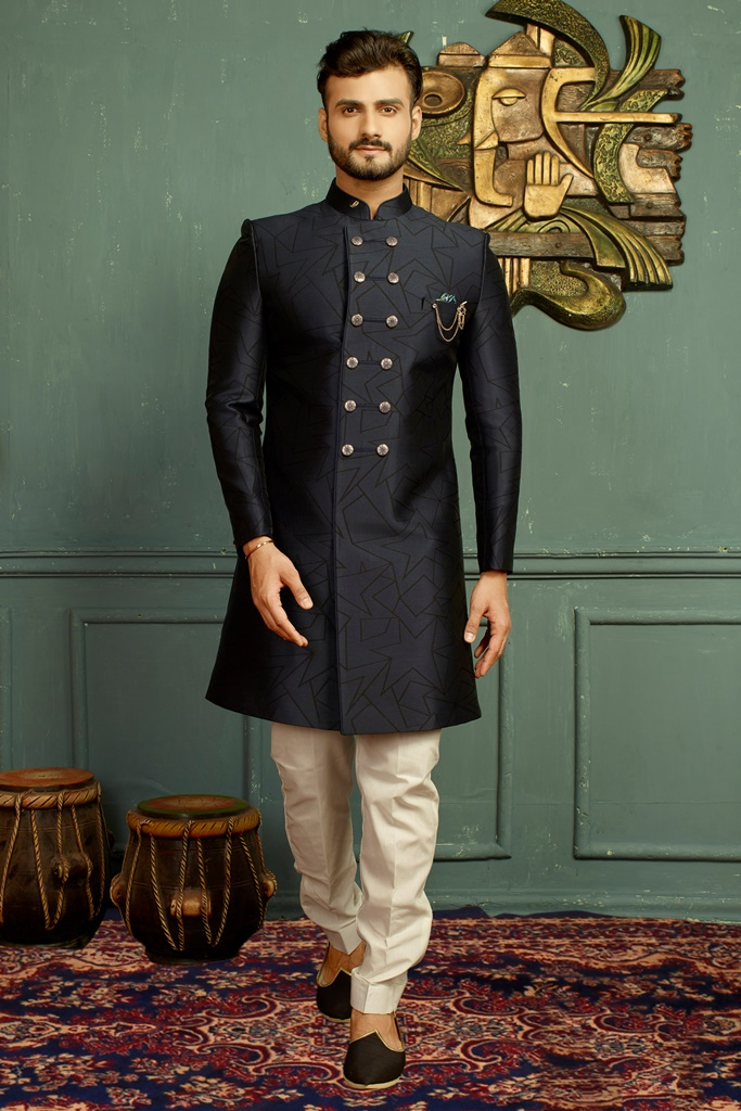 Men nawabi Cotton Indo Western Blue & Blue