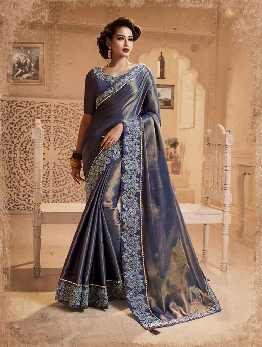 Embroidered chaina silk saree