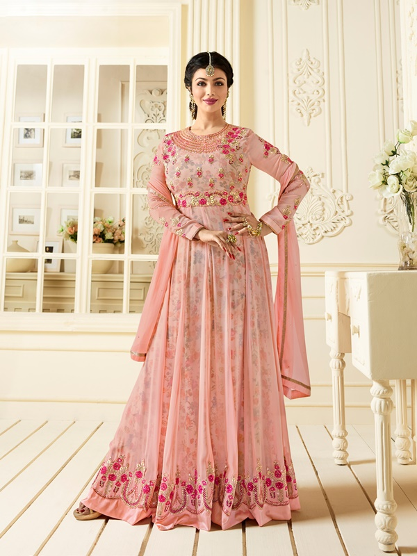 Partywear Georgette Light Pink Kameez