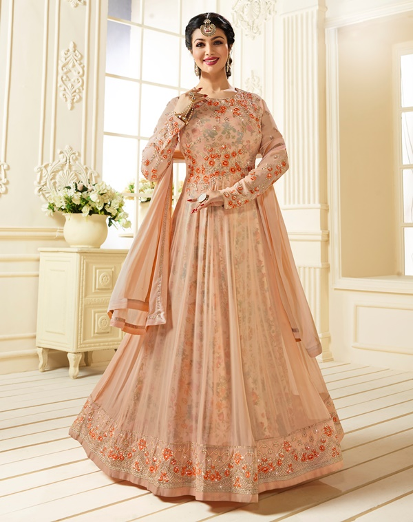 Partywear Georgette Light Peach Kameez