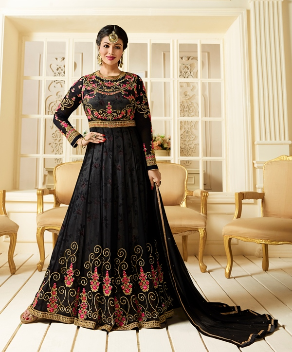 Partywear Georgette Light Black Kameez