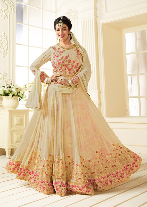 Partywear Georgette Light Cream Kameez