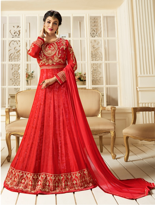 Partywear Georgette Light Red Kameez