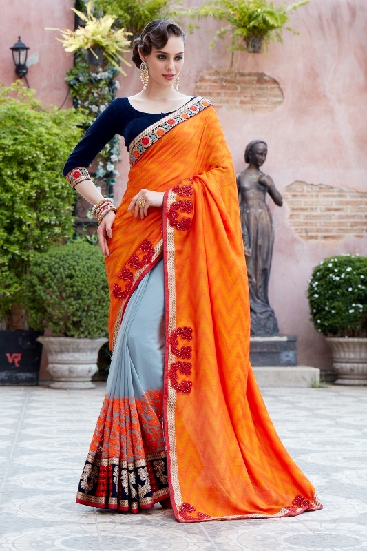 Designer Embroidery Pink Georgtte &Jecart Saree