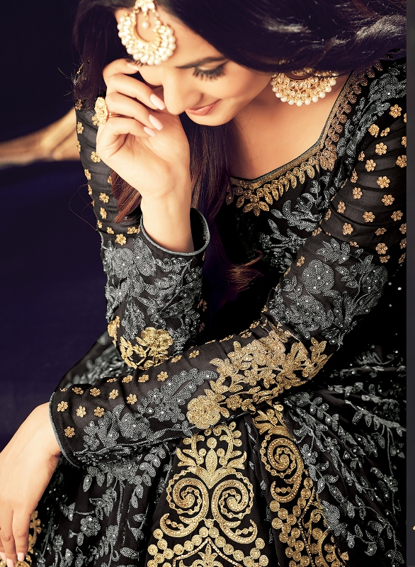 Designer Embroidery Grey Black Georgette Anarkali Suit