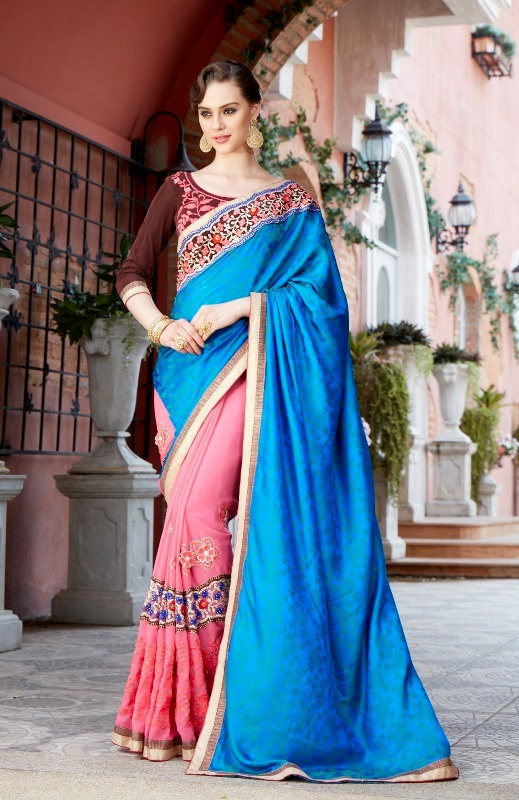 Designer Embroidery Blue & Pink Georgtte &Jecart Saree