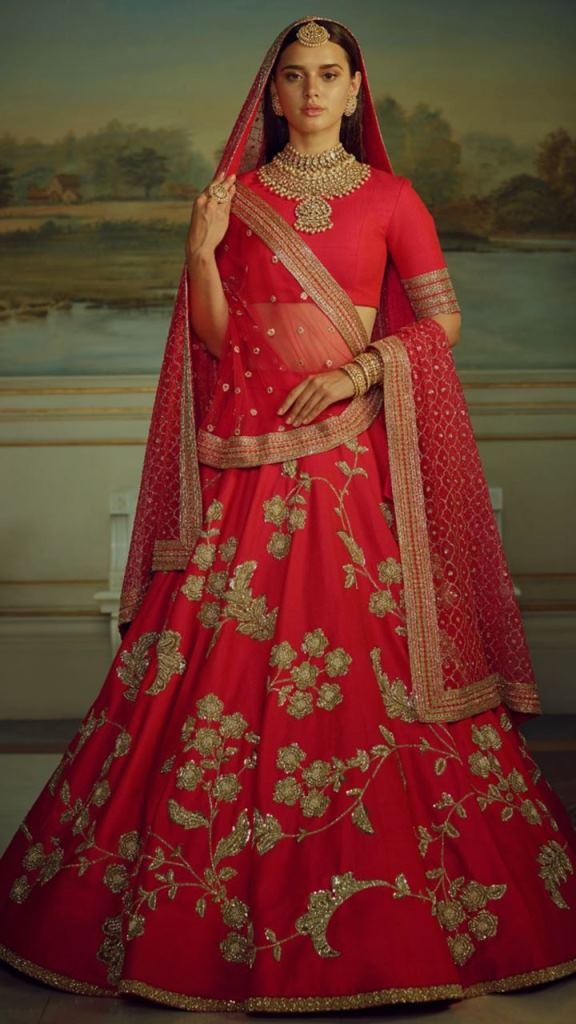 Wedding Embroidery Red Malai Satin Bridal Lahengha