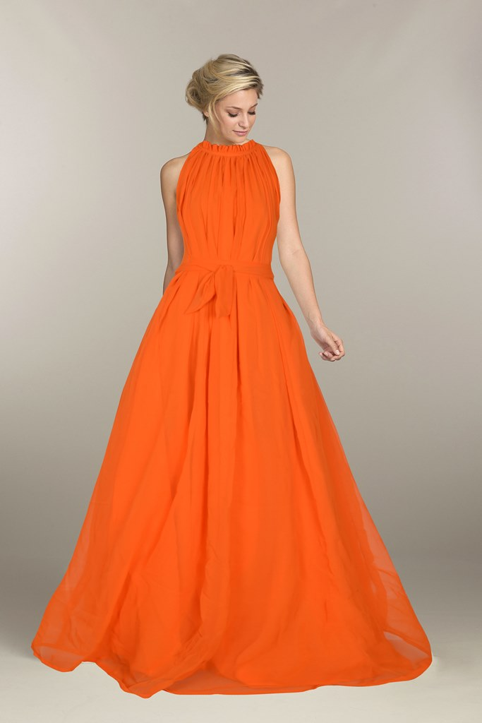 Designer Print Long Orange Gown