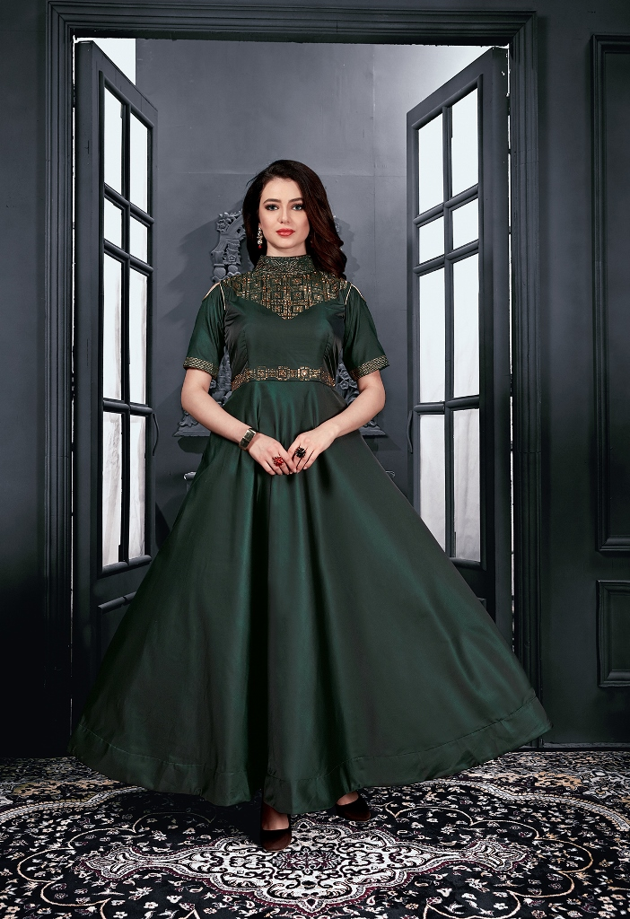 Partywear Dark Green Heavy Tapeta Satin Gown