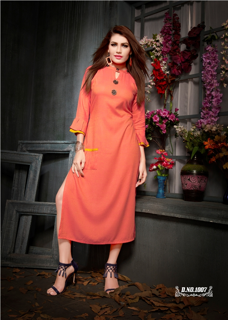 Partywear Designer Orange Rayon 2 Ton Fancy Kurti