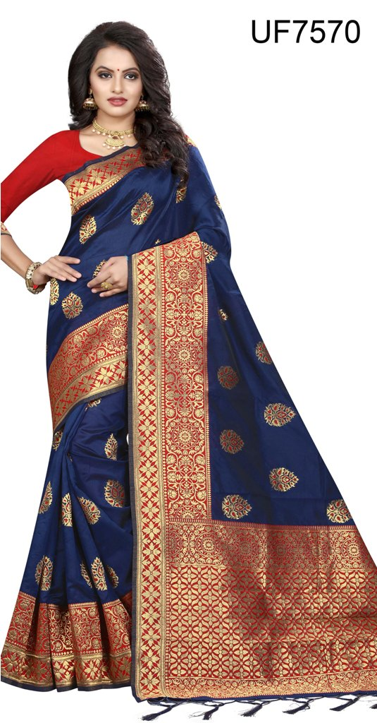 Party ware real weaving art silk saree