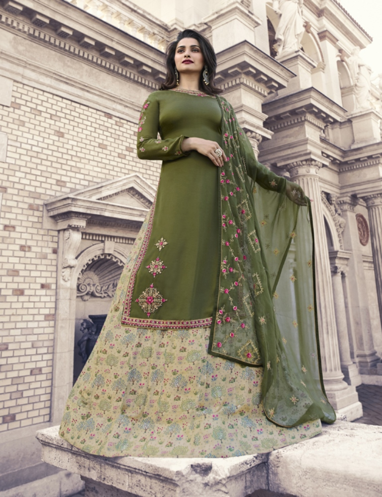 Georgette Satin Kameez Dark Olive Color