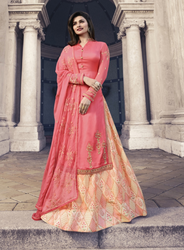 Georgette Satin Kameez Pink color