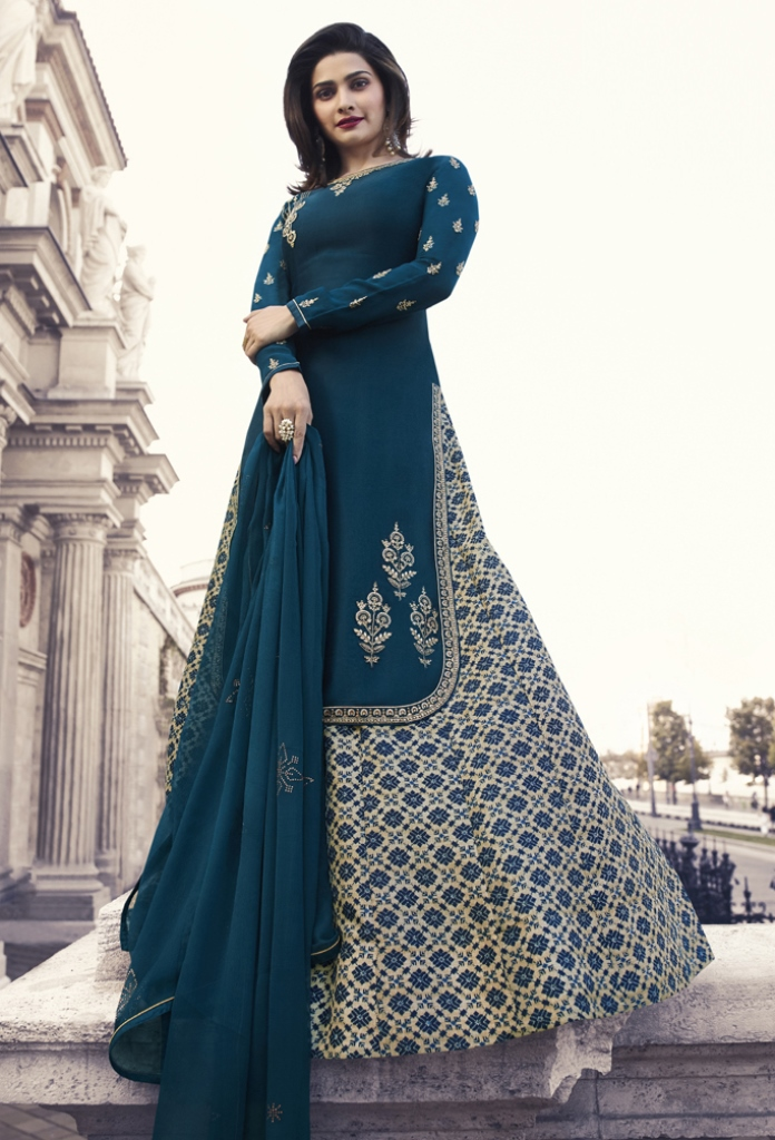 Georgette Satin Kameez Blue Color