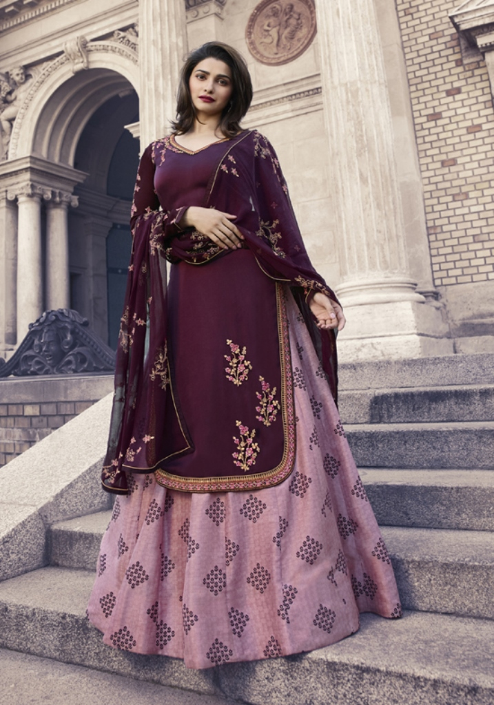 Georgette Satin Kameez Dark wine Color