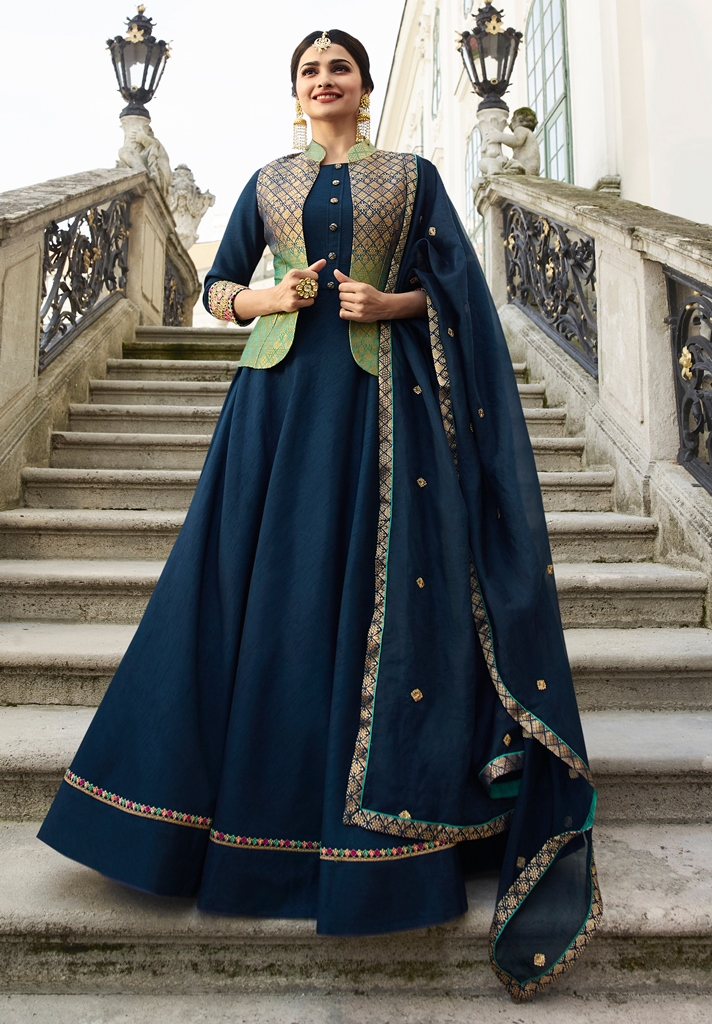 Silk Kameez Navy Blue & Green Color