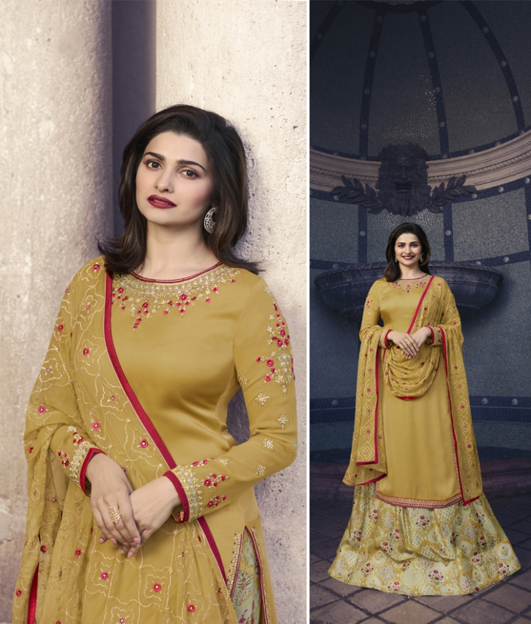 Georgette Satin Kameez & Mustard Color