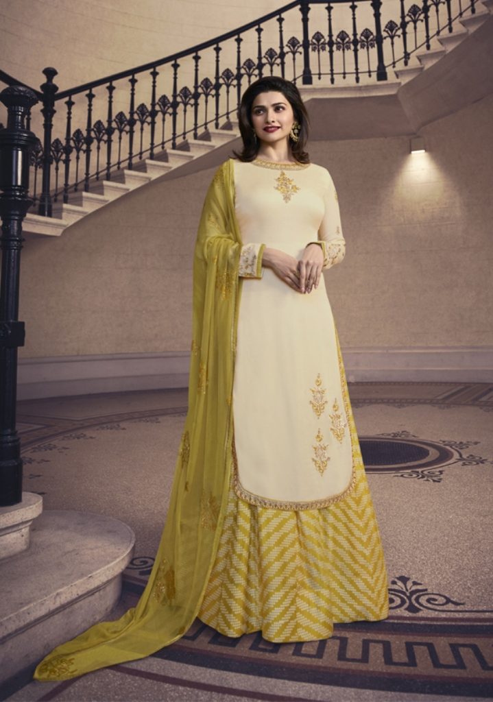 Georgette Satin Kameez Cream Color