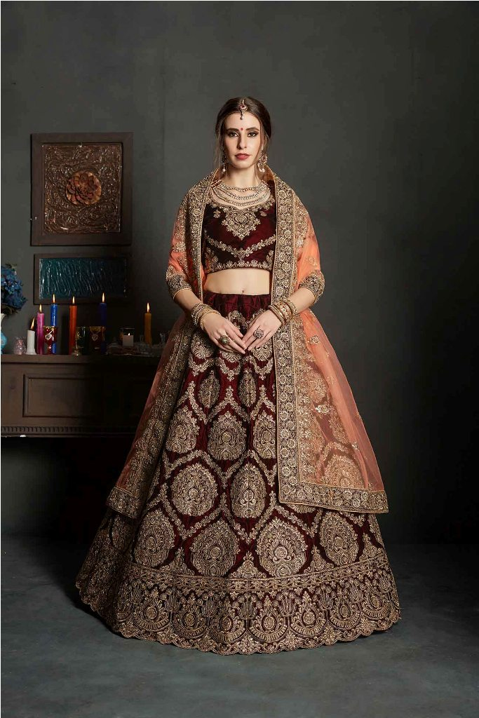 Latest Bridal Heavy Designer Lehenga Choli In Maroon