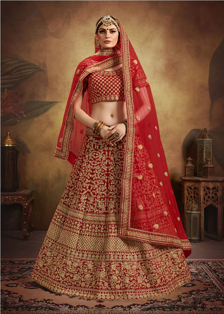 Beautified With Heavy Coding Jari Embroidery And Stone Work Bridal Lehenga