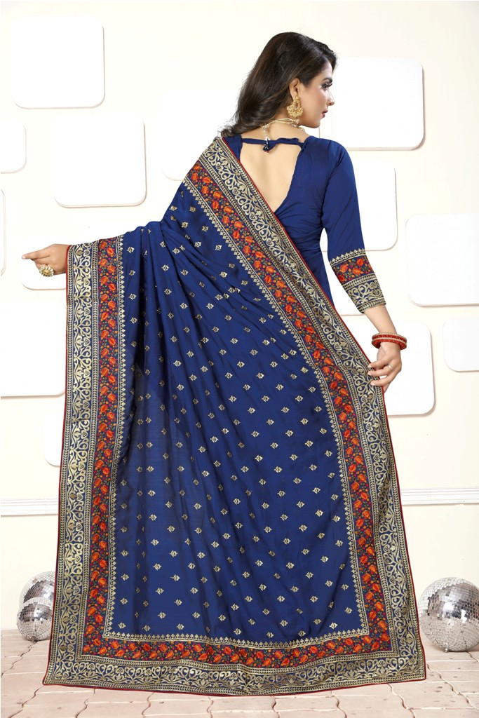 IF You Have An Eye For Different  Embroidery Styles, Than Grab This Heavy Deisgner Saree