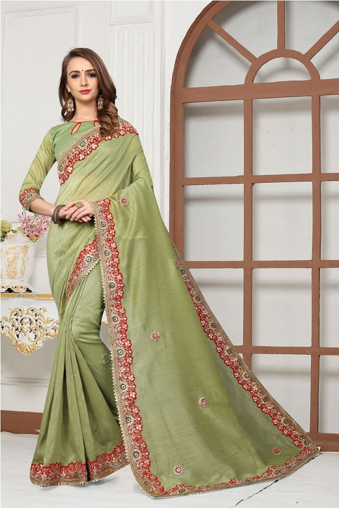 Beautified With Heavy Embroidered Lace Border And Butti Saree