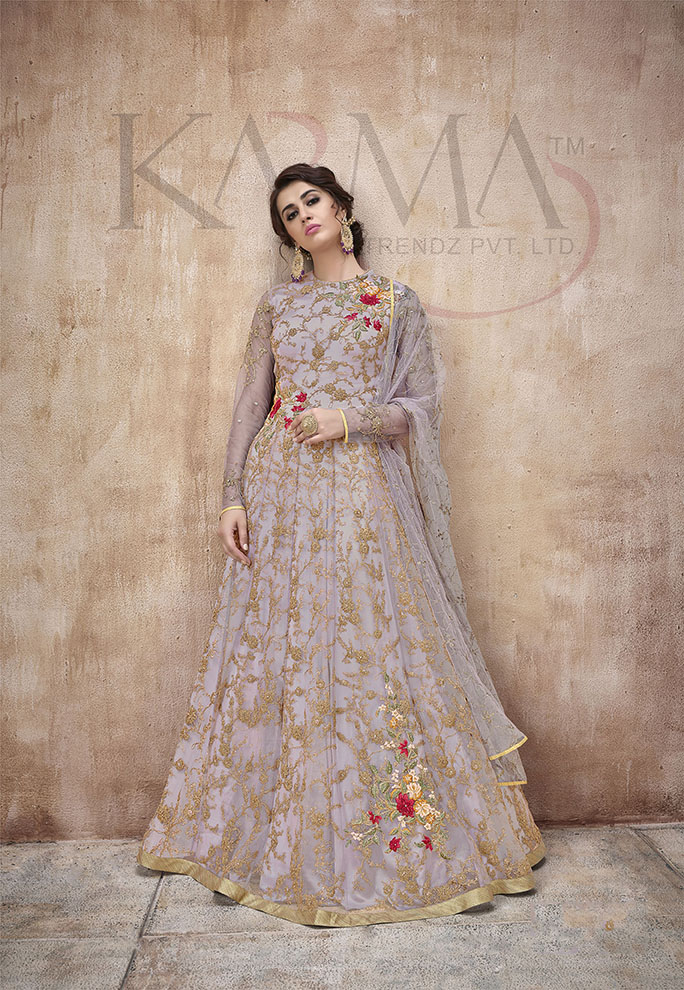 Flaunt Your Rich And Rich And Elegant Taste Wearing This Designer Heavy Floor Length Suit