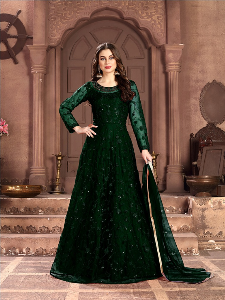 Adorn The Pretty Angelic Look Wearing This Designer Floor Length Suit