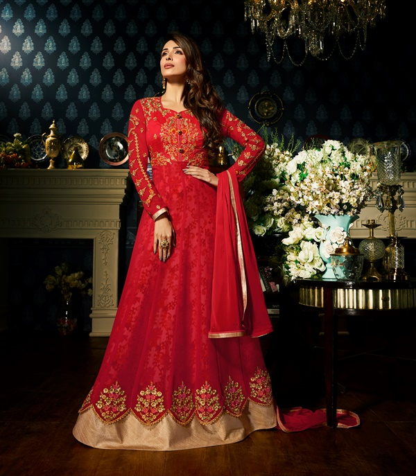 Faux Georgette Red Long Salwar Suit