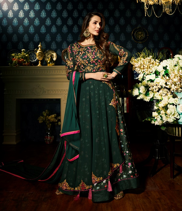 Faux Georgette Dark Green Long Salwar Suit