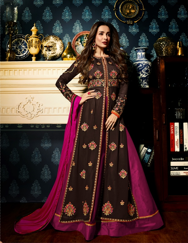 Faux Georgette Brown Long Salwar Suit