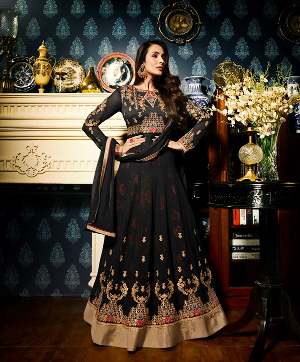 Faux Georgette Black Long Salwar Suit