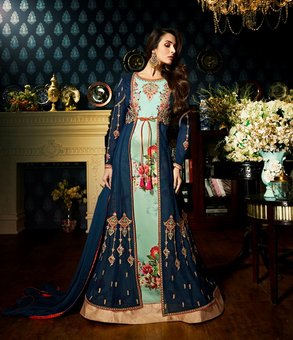 Faux Georgette Blue & Firozi Long Salwar Suit