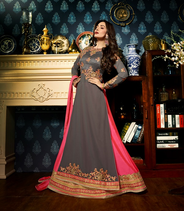 Faux Georgette Grey Long Salwar Suit