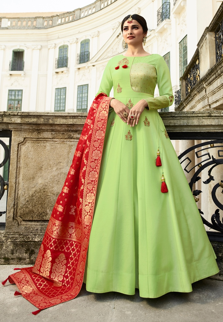 Silk Kameez Pista Green Color