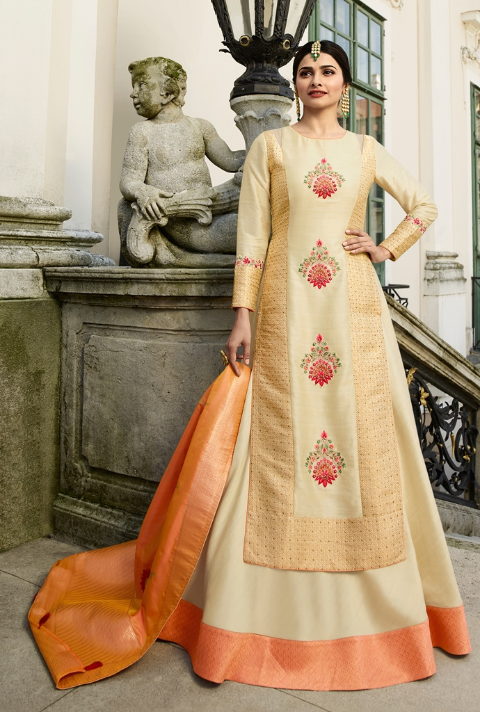 Silk Kameez Cream Color
