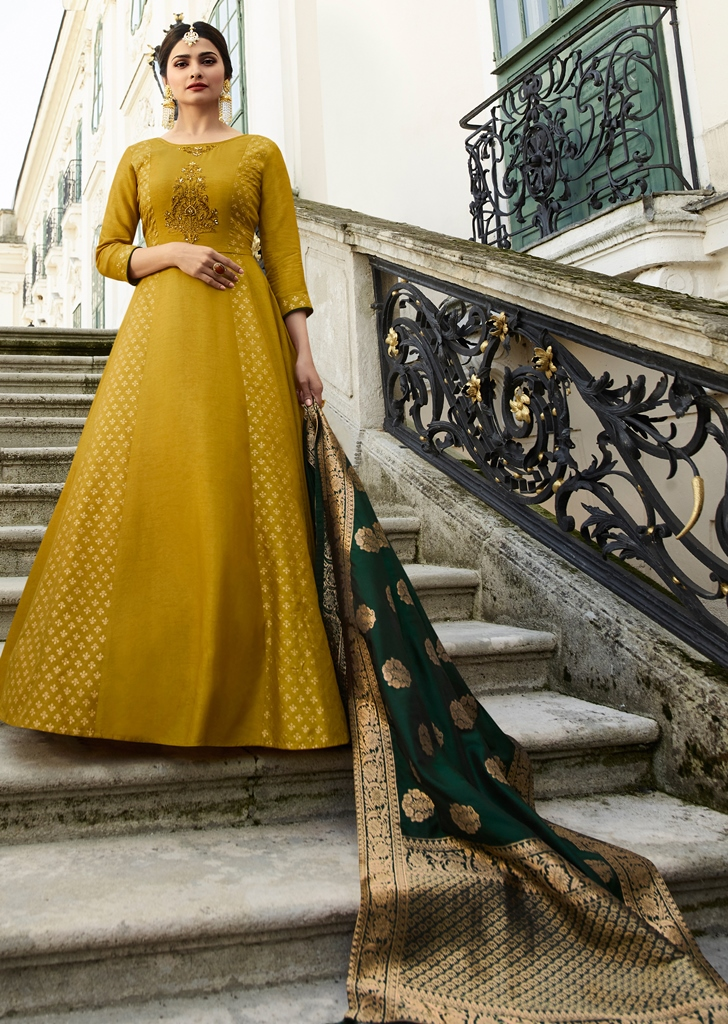Silk Kameez Mustard Color