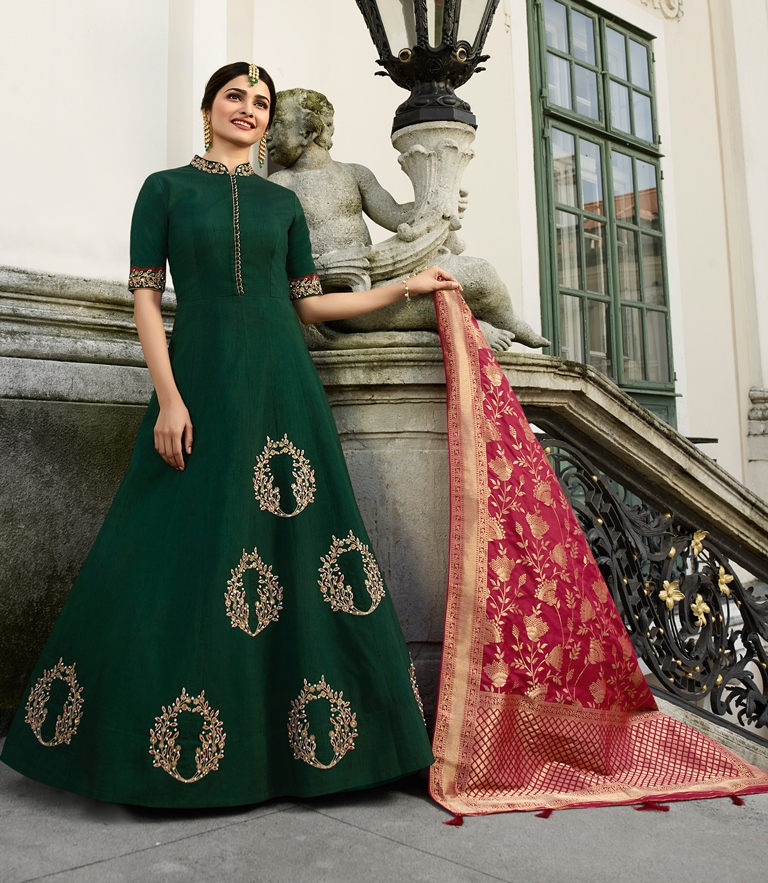 Silk Kameez Dark Green Color