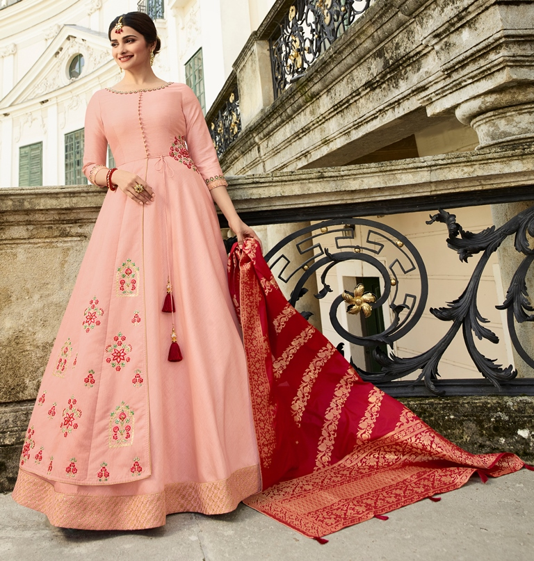 Silk Kameez Light Pink Color