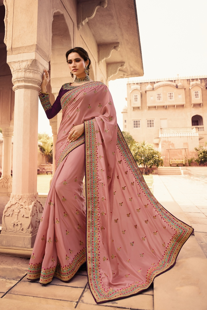 Barfi Silk Saree Baby Pink Color