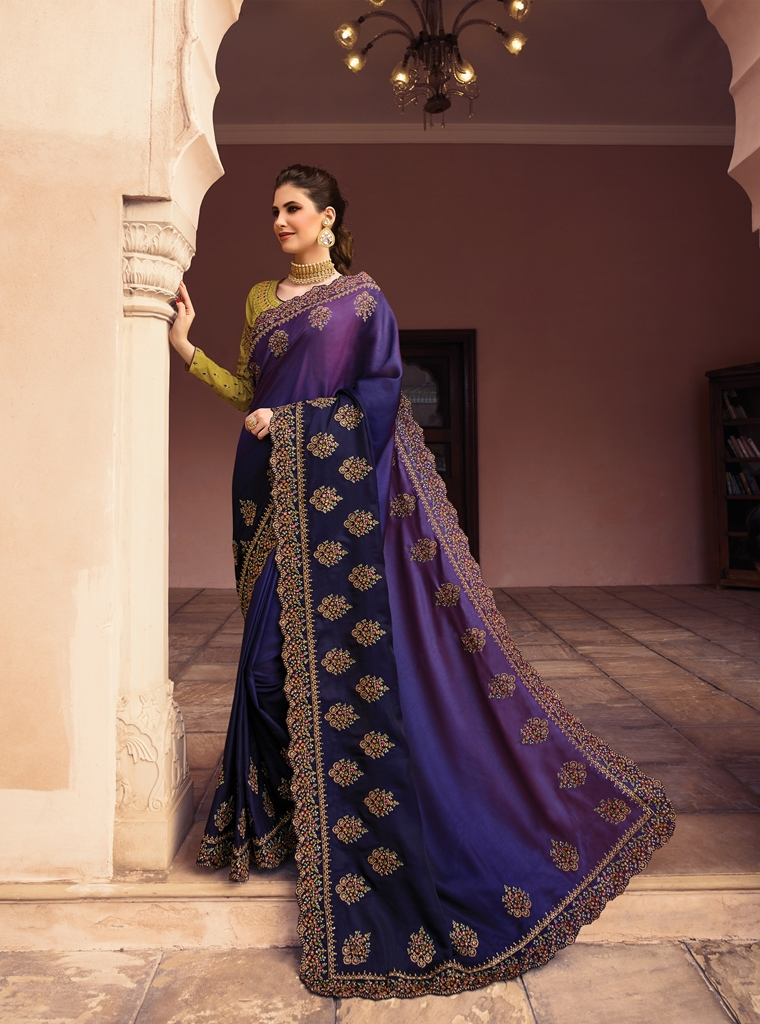 Barfi Silk Saree Royal Blue Color